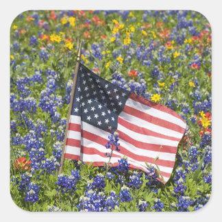 American Flag in field of Blue Bonnets, Sticker