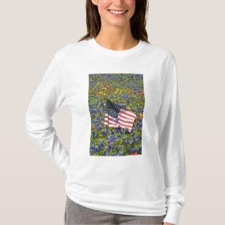 American Flag in field of Blue Bonnets, T-Shirt
