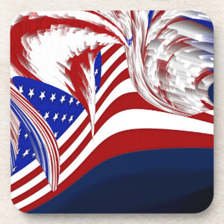 American Flag in Flight Red White Blue Abstract Beverage Coaster