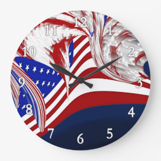 American Flag in Flight Red White Blue Abstract Large Clock