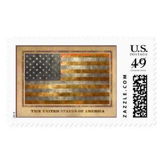 American Flag In Gold Leaf Postage