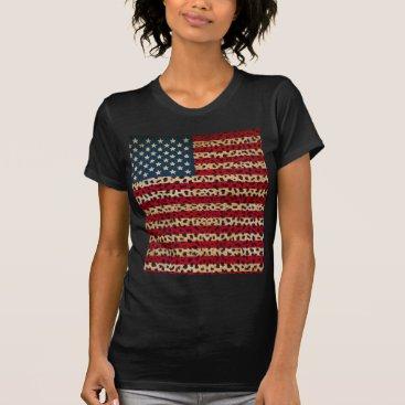 USA Themed American Flag in Leopard Spot Print Design T-Shirt