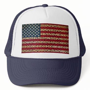 USA Themed American Flag in Leopard Spot Print Design Trucker Hat