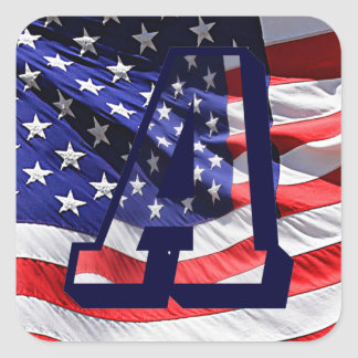 """American Flag in Letter """"A"""" and Background Sticker"""