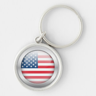 American Flag in Orb Silver-Colored Round Keychain