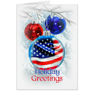 American Flag in Patriotic Christmas Ornament Card