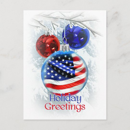 Patriotic Christmas.American Flag In Patriotic Christmas Ornament Holiday Postcard