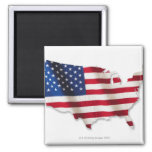 American flag in shape of United States 2 Inch Square Magnet
