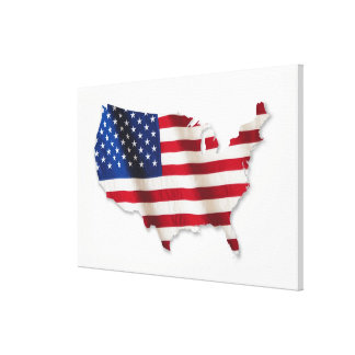 American flag in shape of United States Canvas Print