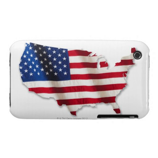 American flag in shape of United States Case-Mate iPhone 3 Case