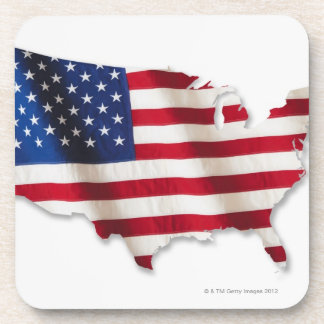 American flag in shape of United States Coaster
