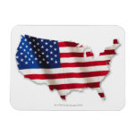 American flag in shape of United States Rectangular Photo Magnet