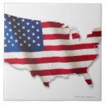 American flag in shape of United States Tile