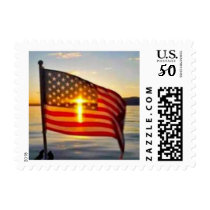 american flag in the sun postage