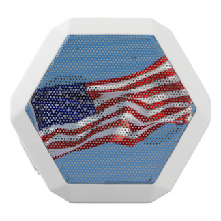 American Flag in the Wind White Bluetooth Speaker