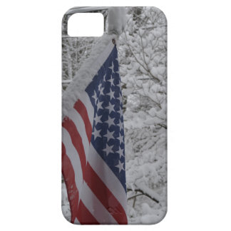 American Flag in Winter Scene - iPhone 5/5s Case