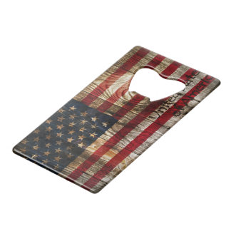 American Flag in wooden bord Credit Card Bottle Opener