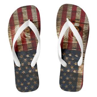American Flag in wooden bord Flip Flops