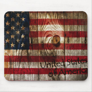 American Flag in wooden bord Mouse Pad