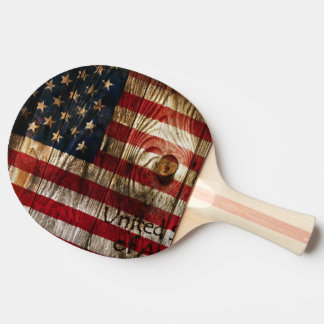 American Flag in wooden bord Ping-Pong Paddle