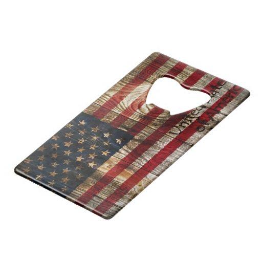 american flag in wooden bord wallet bottle opener zazzle. Black Bedroom Furniture Sets. Home Design Ideas