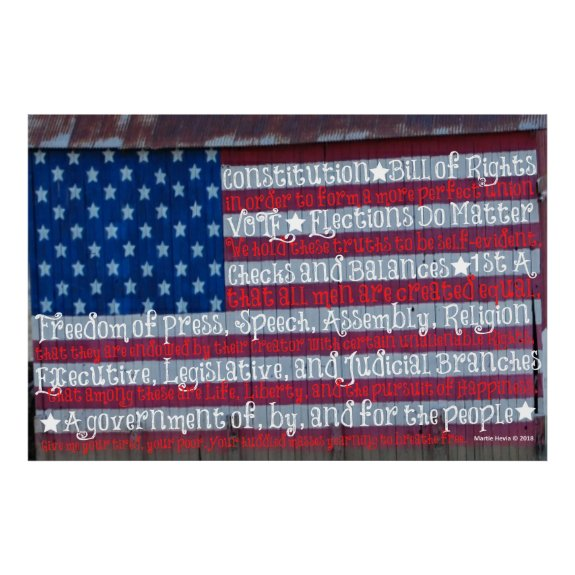 American Flag in Words - WordArt™ Poster