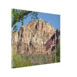 American Flag in Zion National Park I Canvas Print