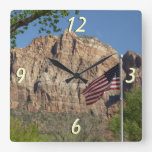 American Flag in Zion National Park I Square Wall Clock