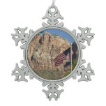 American Flag in Zion National Park I Snowflake Pewter Christmas Ornament