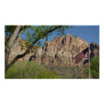 American Flag in Zion National Park I Poster
