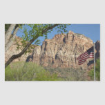 American Flag in Zion National Park I Rectangular Sticker