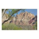 American Flag in Zion National Park I Rectangular Sticker