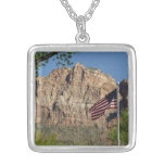 American Flag in Zion National Park I Silver Plated Necklace