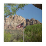 American Flag in Zion National Park II Ceramic Tile