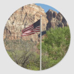 American Flag in Zion National Park II Classic Round Sticker