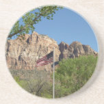 American Flag in Zion National Park II Drink Coaster