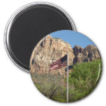 American Flag in Zion National Park II Magnet