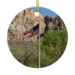 American Flag in Zion National Park II Double-Sided Ceramic Round Christmas Ornament