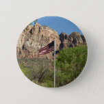 American Flag in Zion National Park II Pinback Button