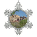 American Flag in Zion National Park II Snowflake Pewter Christmas Ornament