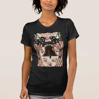 American Flag Independence Bell Fireworks Tee Shirt
