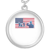 American Flag Independence Day 4th July Silver Plated Necklace
