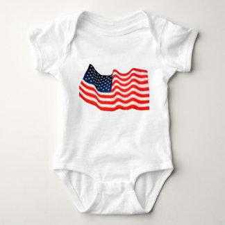American Flag Infant Creeper, White Tee Shirt
