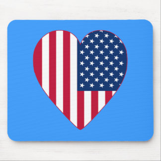 American Flag Inside A Big Heart Mouse Pad