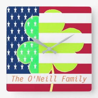 American Flag Irish Shamrock Clover St. Patrick Square Wall Clock