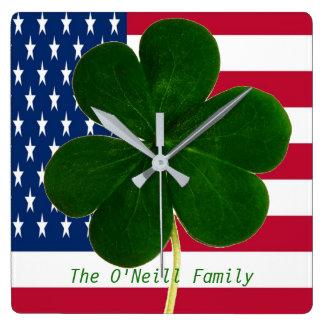 American Flag Irish Shamrock Clover St. Patrick Square Wall Clock