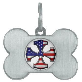American Flag Iron Cross Pet ID Tag