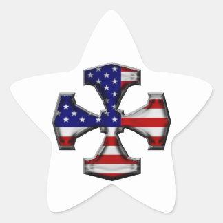 American Flag Iron Cross Star Sticker