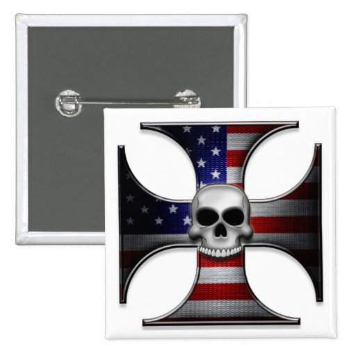American Flag Iron Cross with Skull Pinback Buttons