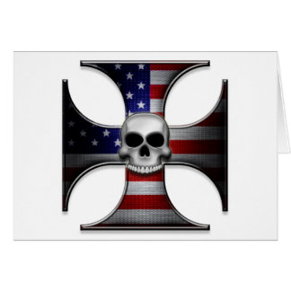 American Flag Iron Cross with Skull Card